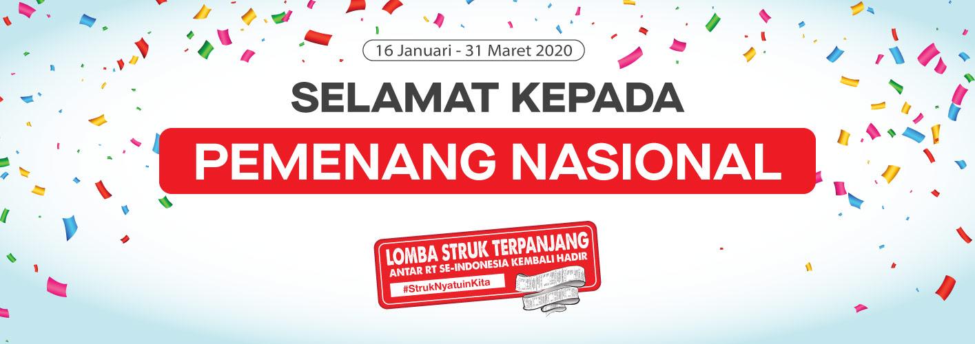 Pemenang NASIONAL Struk Terpanjang Periode 16 Januari - 31 Maret 2020