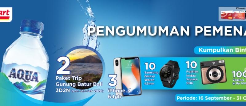 Pemenang Kumpulkan Bintangnya Aqua 16 September - 31 Oktober 2019