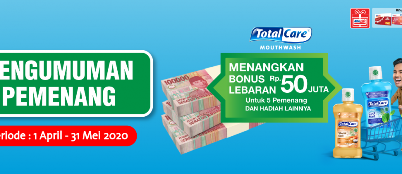Pengumuman Pemenang Total Care Mouthwash Periode 1 April - 31 Mei 2020