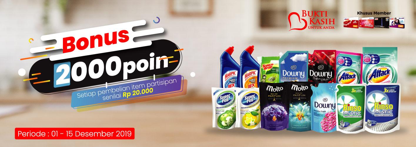 Alfamart Bukti Kasih Untuk Anda BONUS 2000 Poin untuk Pembelian Produk Homecare di Alfamart
