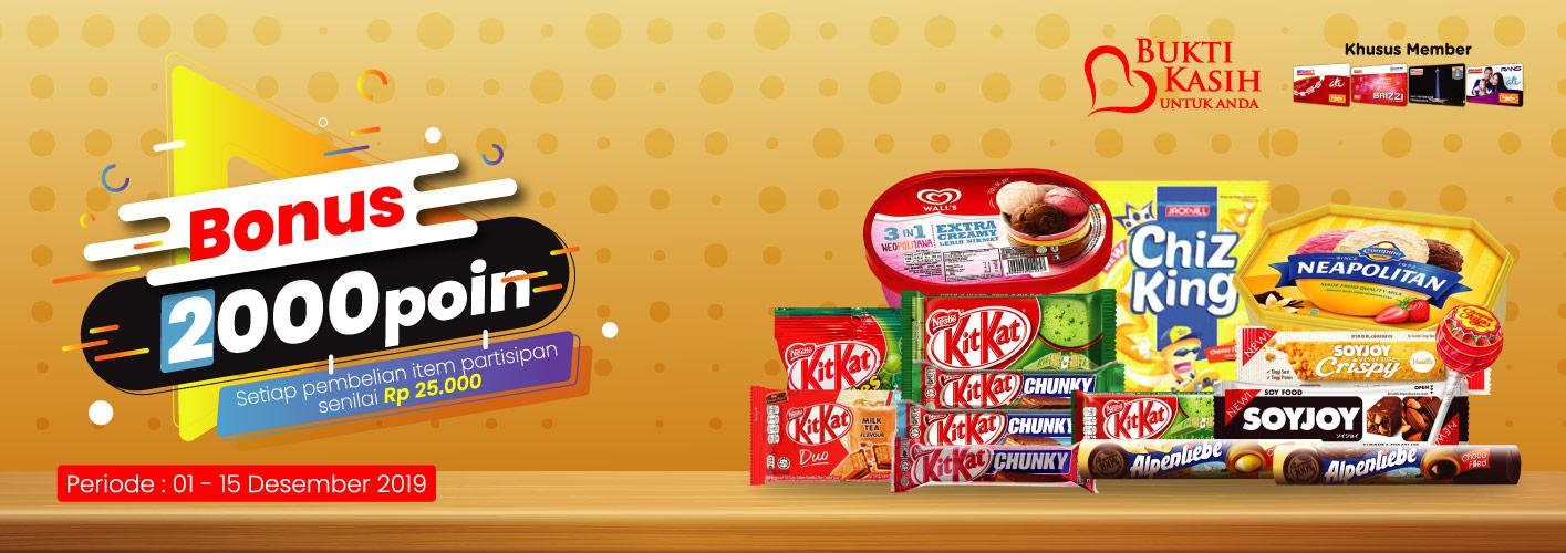 Alfamart Bukti Kasih Untuk Anda BONUS 2000 Poin untuk Pembelian Snack Menarik